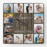 Love is a Wonderful Thing Quote 12 Photo Wood Square Wall Clock