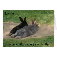 Love is ...., .... lying on the warm grass toge... card