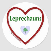 Love Leprechauns Round Stickers
