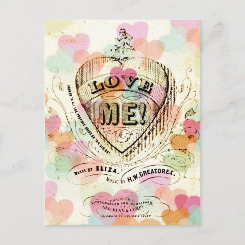 Love Me Candy Hearts Valentine Postcard