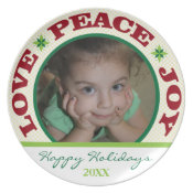 Love peace & Joy Photo Christmas Treat Plate plate