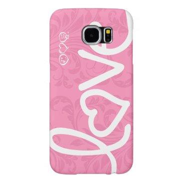 love - pink damask pattern samsung galaxy s6 case