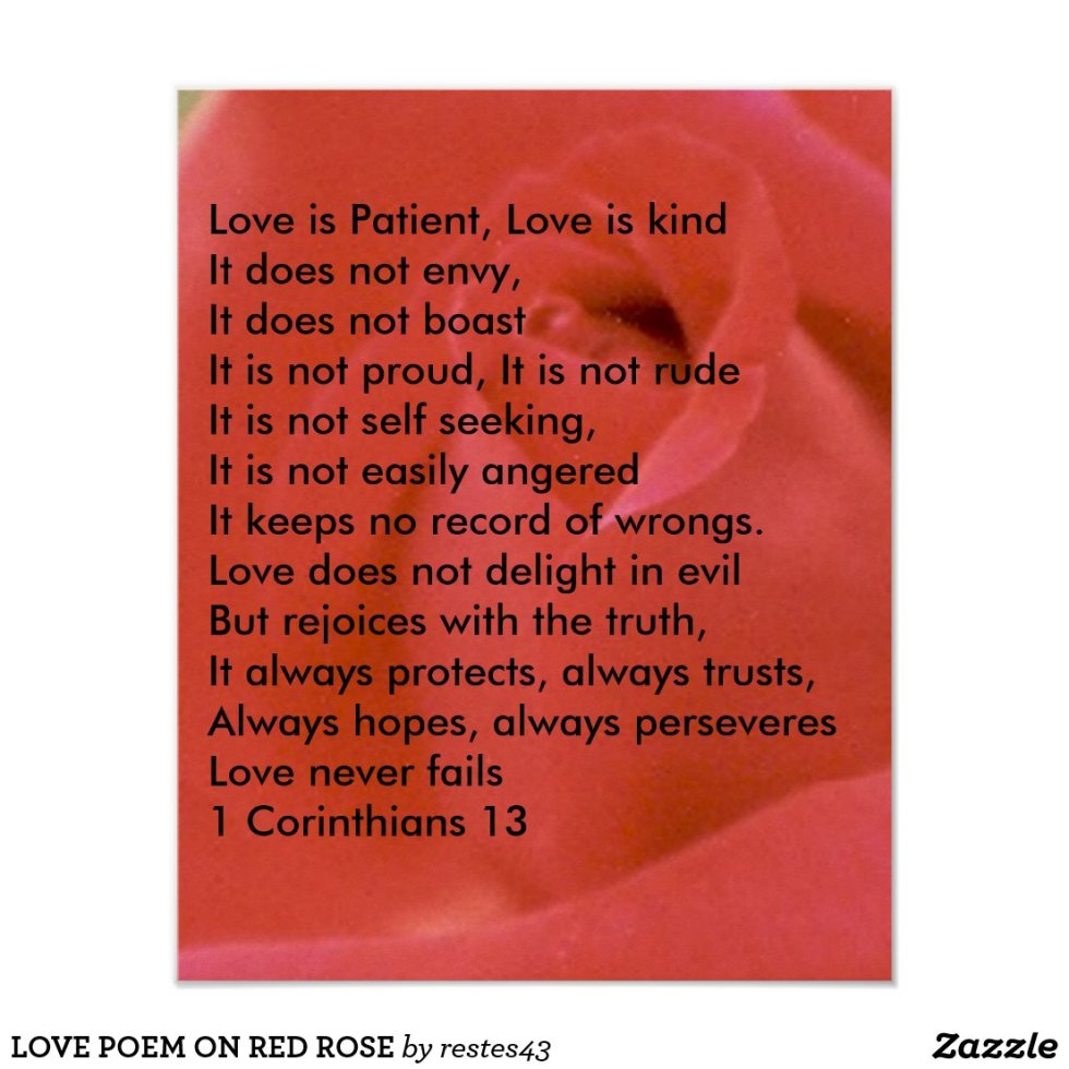 LOVE POEM ON RED ROSE POSTER