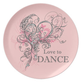 Love to Dance (Grey) Plate