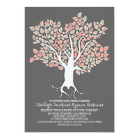 Love tree elegant modern wedding invitations