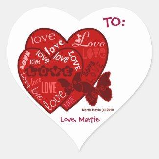 Love Valentine's (Personalize) - Heart Stickers