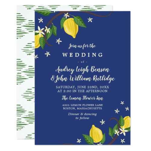 Lovely Lemon Branches - Floral Wedding Card