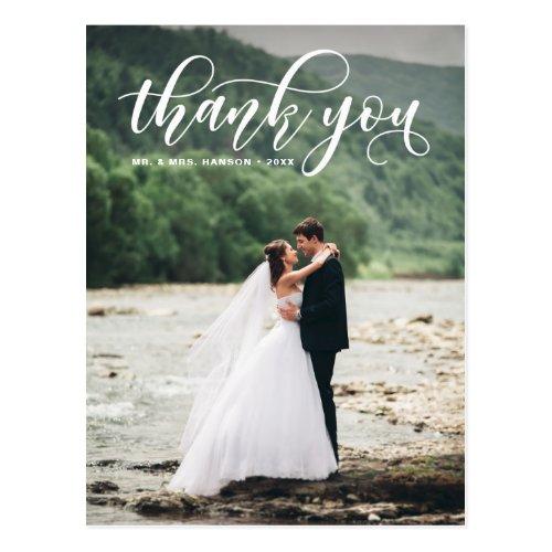 Lovely Modern Calligraphy Wedding Thank You Postcard