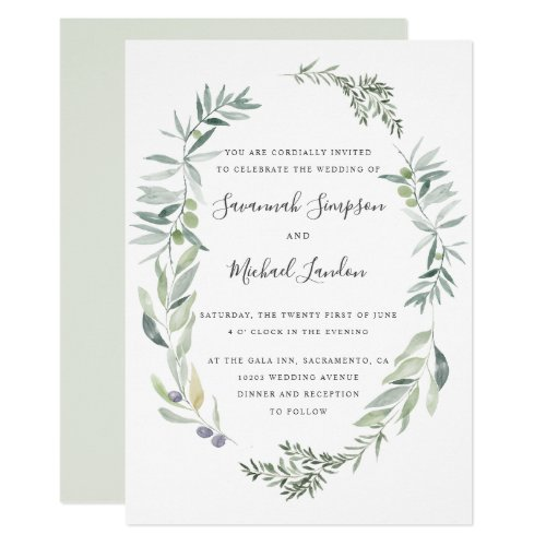 Lovely Olive and leaves wreath wedding Invitation