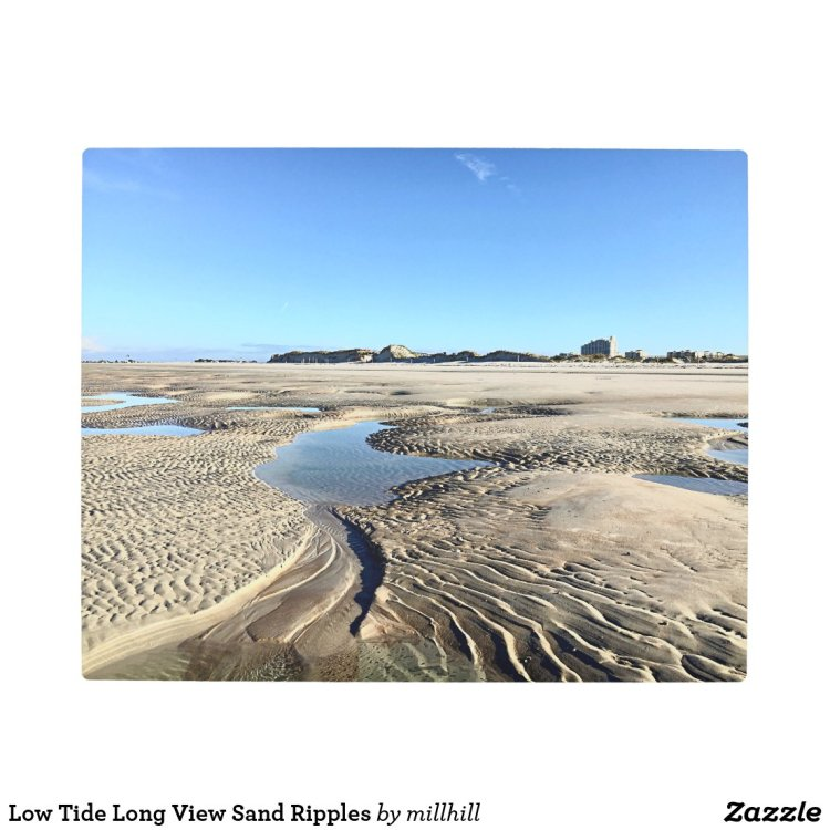 Low Tide Long View Sand Ripples Metal Print