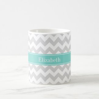 Lt Gray Wht Chevron Aqua Turquoise Name Monogram Coffee Mugs