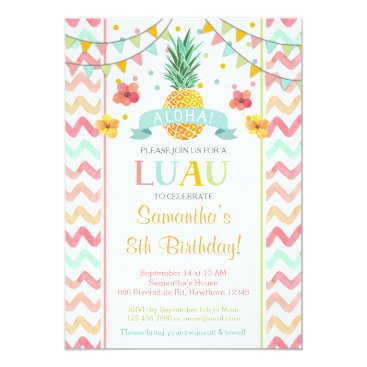 Luau Birthday Invitation, Pineapple Invitation