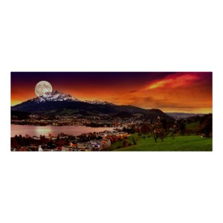Lucerne Switzerland & the moon over Mount Pilatus Poster