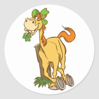 Lucky Cartoon Horse on St Patrick's Day Sticker sticker