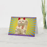 Lucky Cat Japanese Good Luck Waving Cat Card