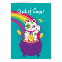 Lucky Cat Maneki Neko Good Luck Pot of Gold Card