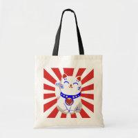 Lucky cute neko cat on rising sun tote bag