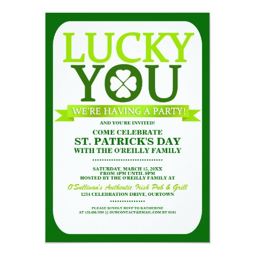 Lucky St. Patricks Day Party Invitations