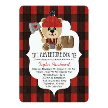 Lumberjack Bear Wilderness Themed Baby Shower Card