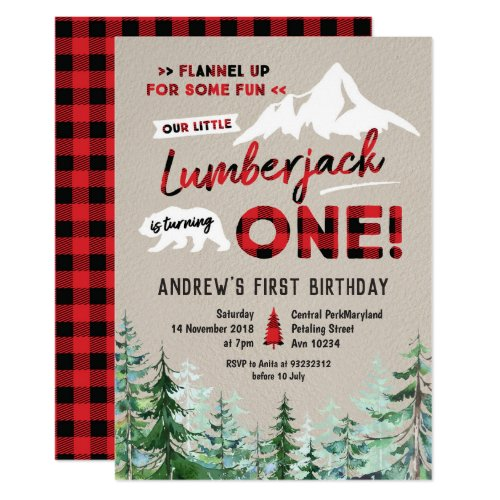 Lumberjack is turning one birthday invitation