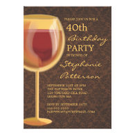 Luminous Wine Themed Milestone Birthday Invitation