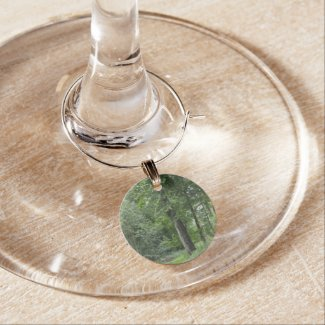 Lush Green Forest Wine Glass Charms