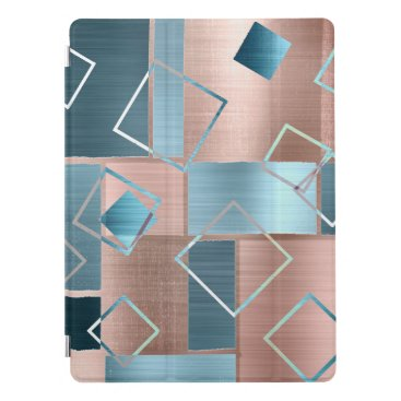 Luxe Abstract | Blush Rose Gold and Teal Geometric iPad Pro Cover