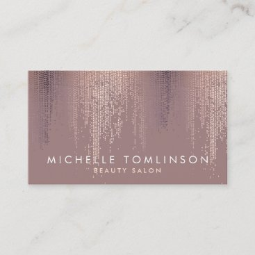 Luxe Rose Gold Confetti Rain Pattern Business Card