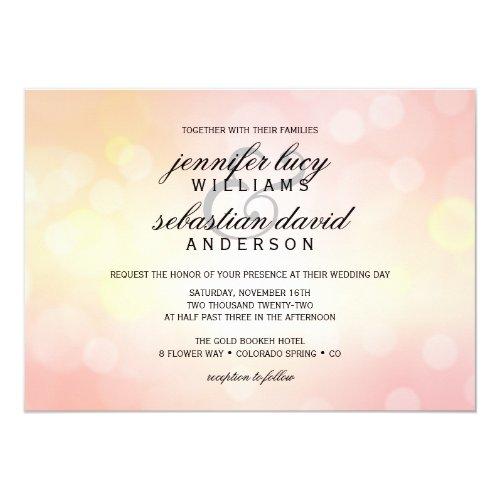 Luxury Pink Glitter Bokeh Light Chic Wedding Invitation
