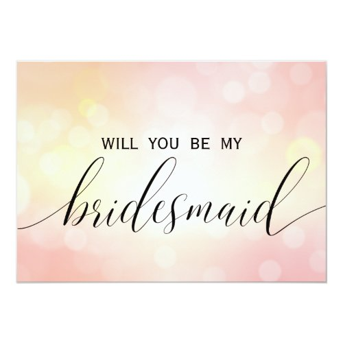 Luxury Pink Glitter  Will You Be My Bridesmaid Invitation