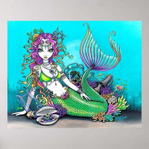 mermaid, tropical, sea, turtle, coral, shell, lyre, fish, koi, tattoo,