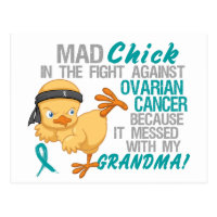 Mad Chick Messed With Grandma 3 Ovarian Cancer Postcard