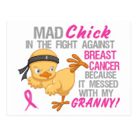 Mad Chick Messed With Granny 3 Breast Cancer Postcard