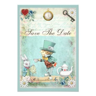Mad Hatter Wonderland Wedding Save The Date Personalized Invitation