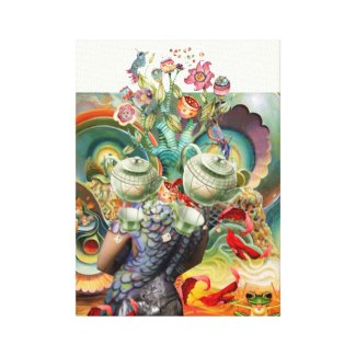 Mad hatter's tea party collage gallery wrap canvas