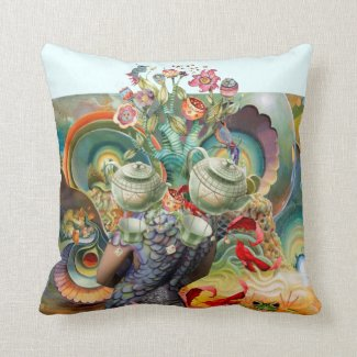 Mad hatters tea party collage pillow