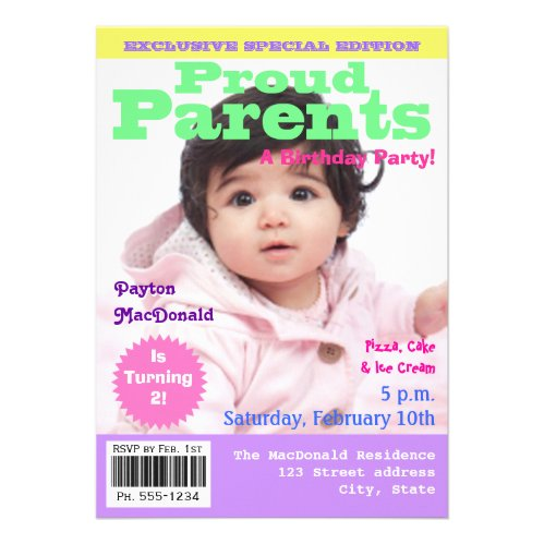 Magazine Cover Style 2nd Birthday Party Invitation