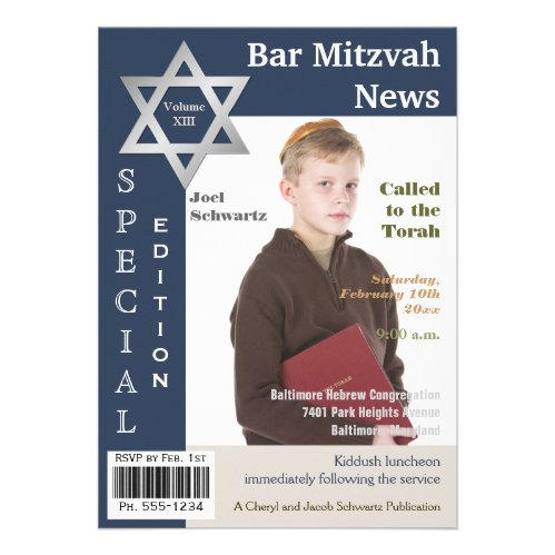 Magazine Cover Style Bar Mitzvah Invitation