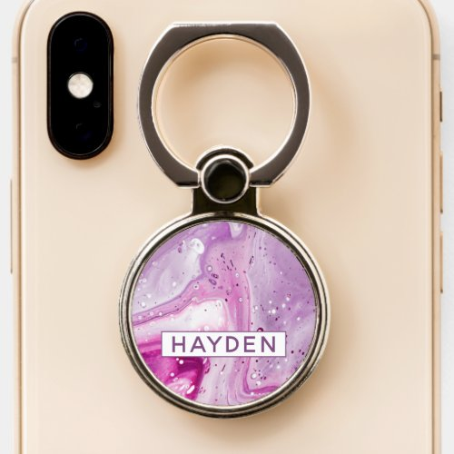 Magenta Marbled Paint Pour Art Personalized Phone Ring Stand