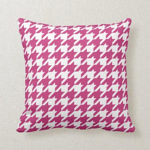 Magenta Pink Houndstooth Pattern Throw Pillow