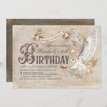 Magic Owl Wizard Birthday Invitations