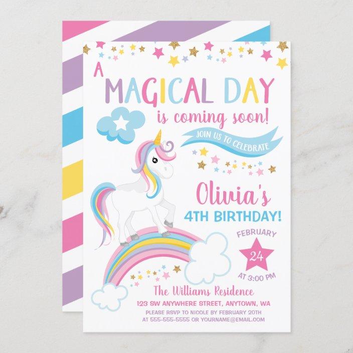 magical rainbow unicorn birthday invitations zazzle com