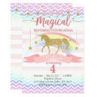 Magical Rainbow Unicorn Birthday Party Invitation