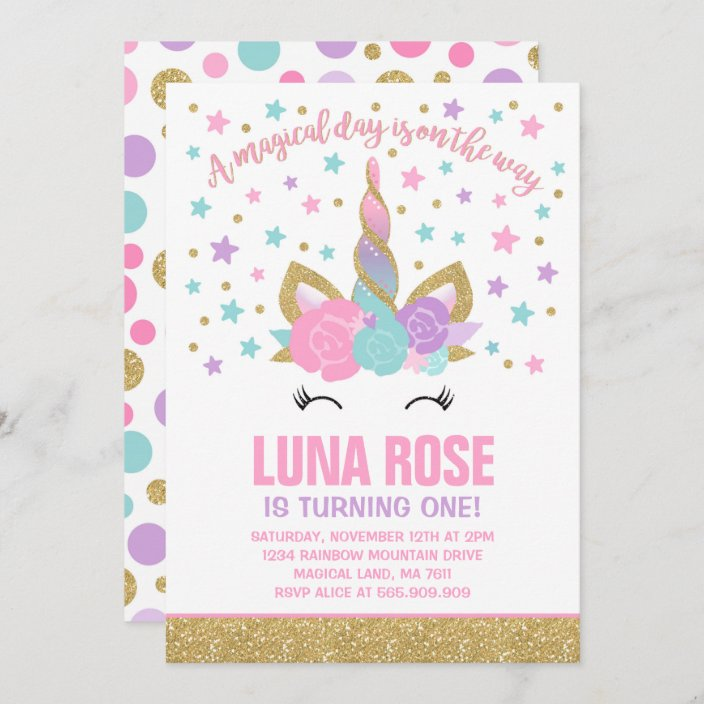 magical unicorn birthday invitation unicorn party zazzle com