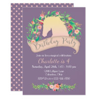 Magical Unicorn Floral Birthday Party Card