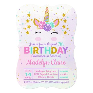 Magical Unicorn Kids Birthday Party Invitation