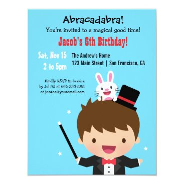 Magician Boy Kids Magic Birthday Party Card
