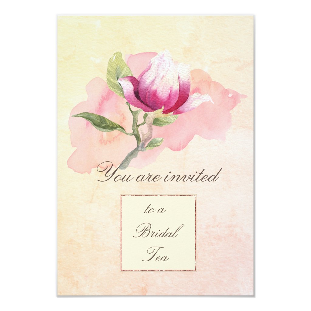 Magnolia Watercolor Tea Party Invitation