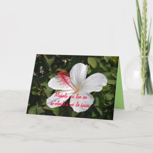 Mahalo Hawaiian White Hibiscus Thank You Celebrati card