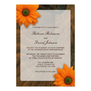 Mahogany Wood Grain with Orange Daisies Wedding Invitation